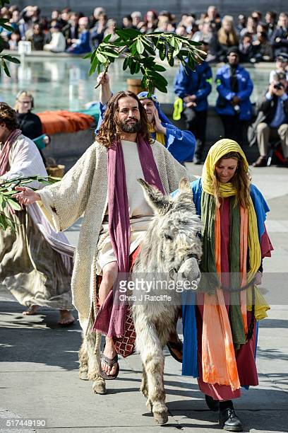 Actor James BurkeDunsmore enters on a donkey through palm leaves whilst playing Jesus during The Wintershall's 'The Passion of Jesus' in front of...
