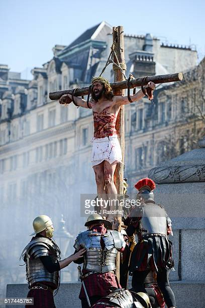 Actor James BurkeDunsmore is raised on to a crucifix whilst playing Jesus during The Wintershall's 'The Passion of Jesus' in front of crowds on Good...