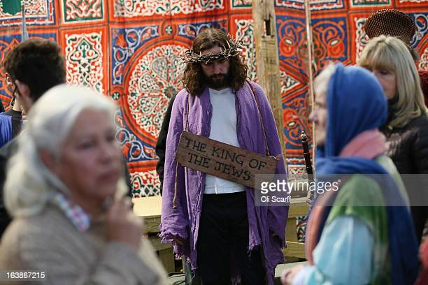 Actor James BurkeDunsmore plays Jesus in a rehearsal of 'The Passion of Jesus' by the Wintershall Players on the Wintershall estate on March 16 2013...