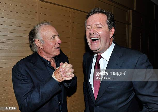 Actor James Caan and CNN's Piers Morgan attend the Planet Dailies And Mixology 101 Grand Opening held at Planet Dailies Mixology 101 on April 5 2012...