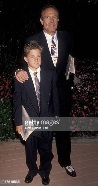 Actor James Caan and Scott Caan attend Hollywood Stars Night Benefit Gala on June 22 1990 at Hollywood Park in Hollywood California