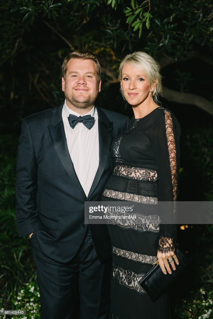 Actor James Corden (L) and producer Julia Carey pose for a portrait at Ron Burkle's Green Acres Estate on October 13, 2017 in Beverly Hills, California