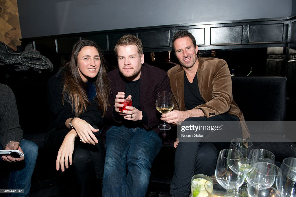Actor James Corden (C) and Trent Fraser (R) attend the Celebration of Chris Pine's cover of Flaunt Magazine at Beautique on November 22, 2014 in New York City.