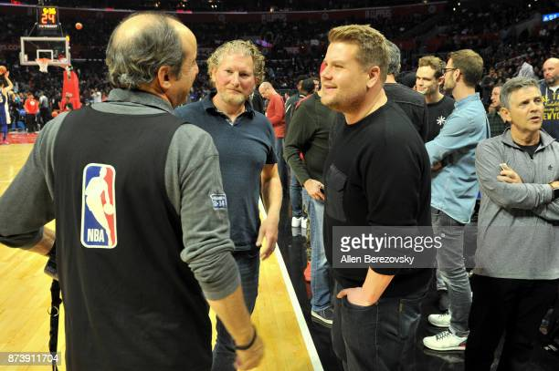 Actor James Corden attends a basketball game between the Los Angeles Clippers and the Philadelphia 76ers at Staples Center on November 13 2017 in Los...