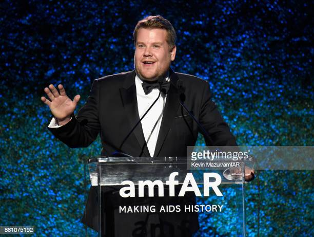 Actor James Corden speaks onstage at the amfAR Gala Los Angeles 2017 at Ron Burkle's Green Acres Estate on October 13 2017 in Beverly Hills California