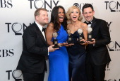 Actor James Corden winner of Best Performance by a Leading Actor in a Play for 'One Man Two Guvnors' actress Audra McDonald winner of Best...