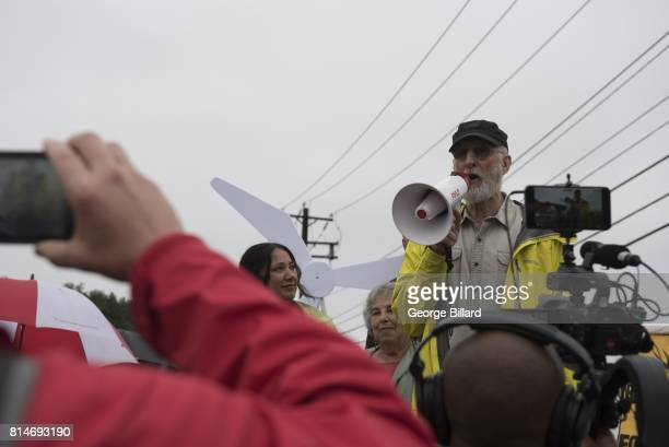 Actor James Cromwell takes part in a protest outside the CPV Power Plant site on July 14 2017 in Wawayanda New York