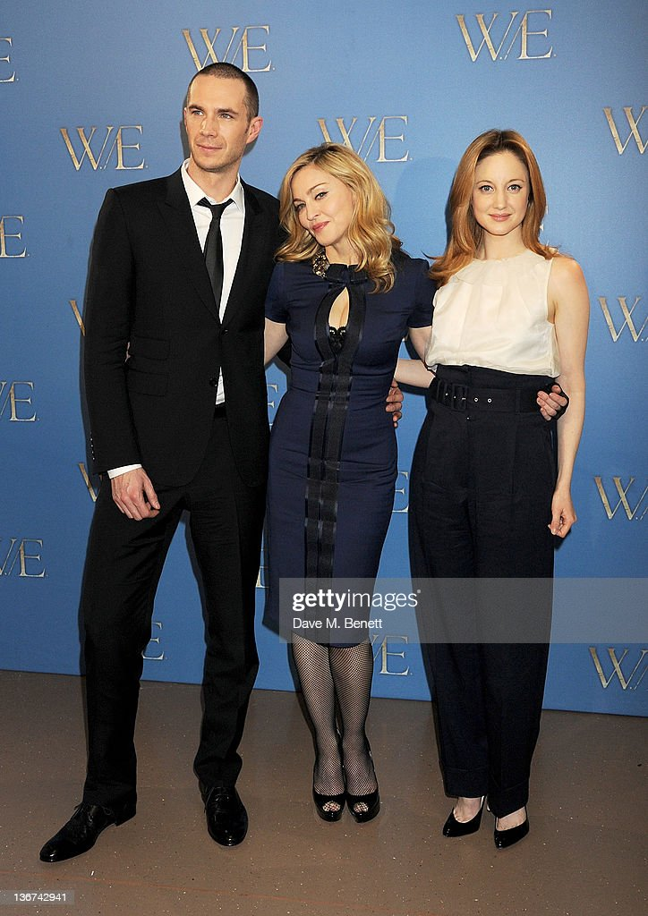 Actor James D'Arcy writer/director Madonna and actress Andrea Riseborough attend a photocall to promote the new film 'WE' at the London Studios on...
