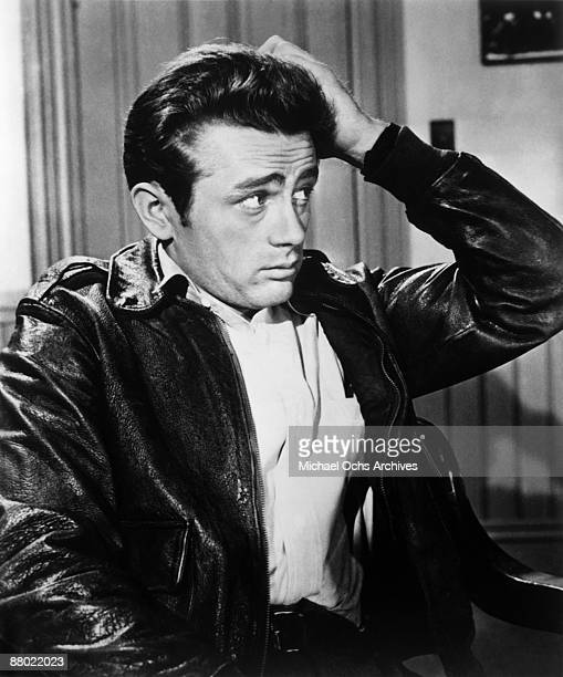Actor James Dean on the set of the Schlitz Playhouse production of 'The Unlighted Road' broadcast on CBS Television on April 1 1955 in New York City...