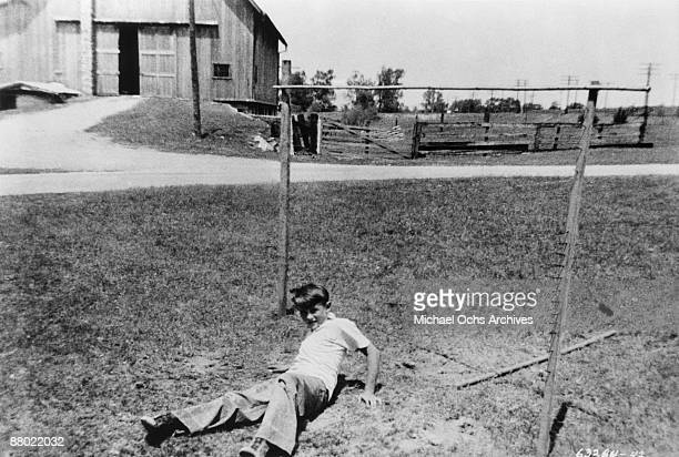 Actor James Dean plays on his Uncle and Aunt's farm circa 1943 in Fairmount Indiana
