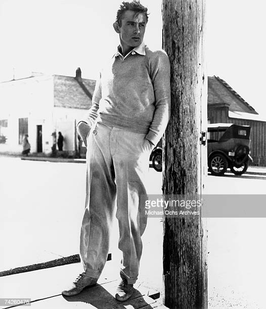 Actor James Dean poses for a Warner Bros publicity shot for his film 'East Of Eden' in 1954 in Mendocino California