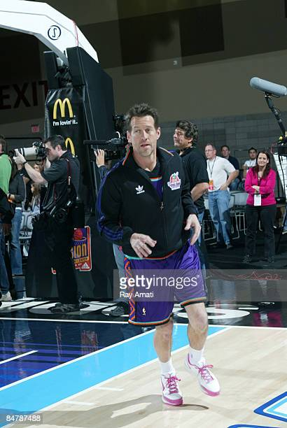 Actor James Denton jogs during warm ups prior to the McDonald's AllStar Celebrity Game on center court during NBA Jam Session Presented by Adidas on...
