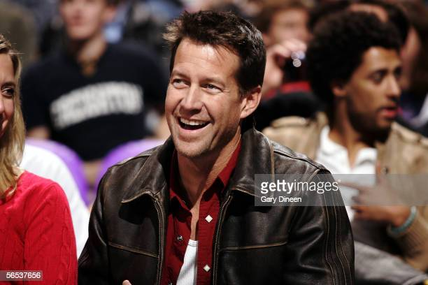 Actor James Denton of the show 'Desperate Housewives' enjoys the game between the Chicago Bulls and the Milwaukee Bucks on January 6 2006 at the...