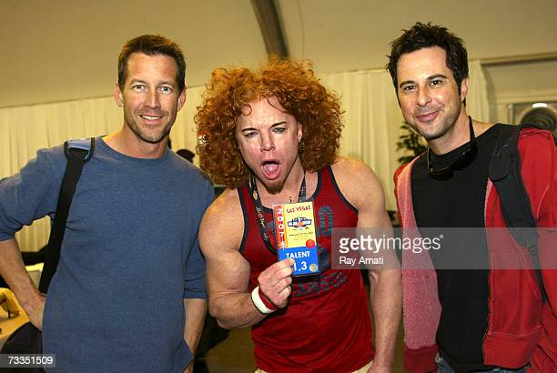 Actor James Denton poses with Comedian Carrot Top and actor Jonathan Silverman prior to the McDonald's NBA AllStar Celebrity Game Presented by 2K...