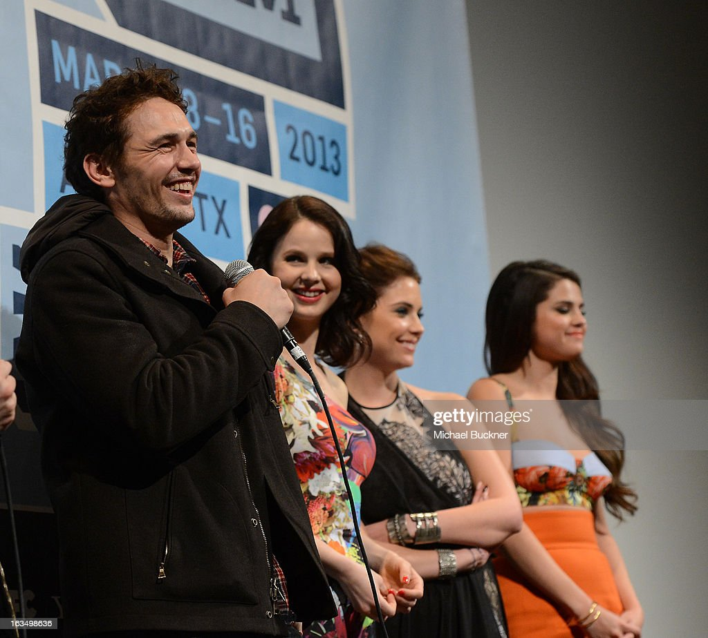 Actor James Franco, actress Rachel Korine, actress Ashley Benson and actress Selena Gomez speak at the Q & A for 'Spring Breakers' during the 2013 SXSW Music, Film + Interactive at the Paramount Theatre on March 10, 2013 in Austin, Texas.