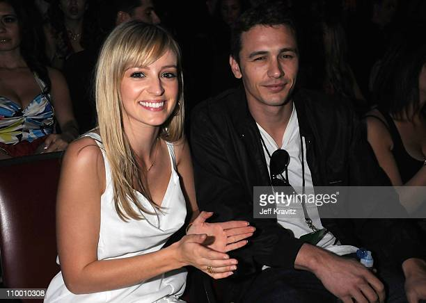Actor James Franco and a guest attend the 2008 MTV Movie Awards at the Gibson Amphitheatre on June 1 2008 in Universal City California