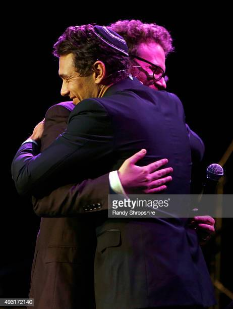Actor James Franco and Hilarity for Charity cofounder/show host Seth Rogen embrace onstage during Hilarity for Charity's Annual Variety Show James...