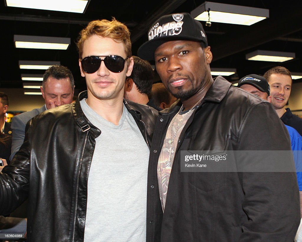 Actor <a gi-track='captionPersonalityLinkClicked' href=/galleries/search?phrase=James+Franco&family=editorial&specificpeople=577480 ng-click='$event.stopPropagation()'>James Franco</a> and Rapper <a gi-track='captionPersonalityLinkClicked' href=/galleries/search?phrase=50+Cent+-+Rapper&family=editorial&specificpeople=215363 ng-click='$event.stopPropagation()'>50 Cent</a> pose prior to the start of the Daytona 500 at Daytona International Speedway on February 24, 2013 in Daytona Beach, Florida.