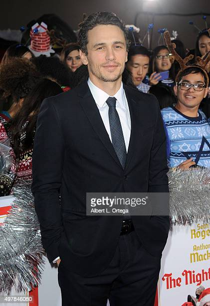 Actor James Franco arrives for the Premiere Of Columbia Pictures' 'The Night Before' held at The Theatre At The Ace Hotel on November 18 2015 in Los...