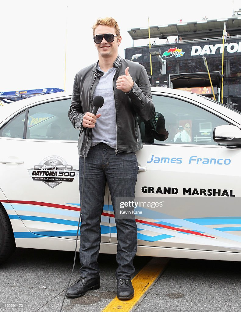 Actor <a gi-track='captionPersonalityLinkClicked' href=/galleries/search?phrase=James+Franco&family=editorial&specificpeople=577480 ng-click='$event.stopPropagation()'>James Franco</a> attends the 55th running of the Daytona 500 at Daytona International Speedway on February 24, 2013 in Daytona Beach, Florida.