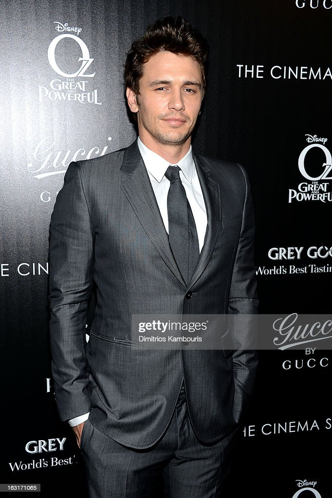Actor <a gi-track='captionPersonalityLinkClicked' href=/galleries/search?phrase=James+Franco&family=editorial&specificpeople=577480 ng-click='$event.stopPropagation()'>James Franco</a> attends the Gucci and The Cinema Society screening of 'Oz the Great and Powerful' at DGA Theater on March 5, 2013 in New York City.