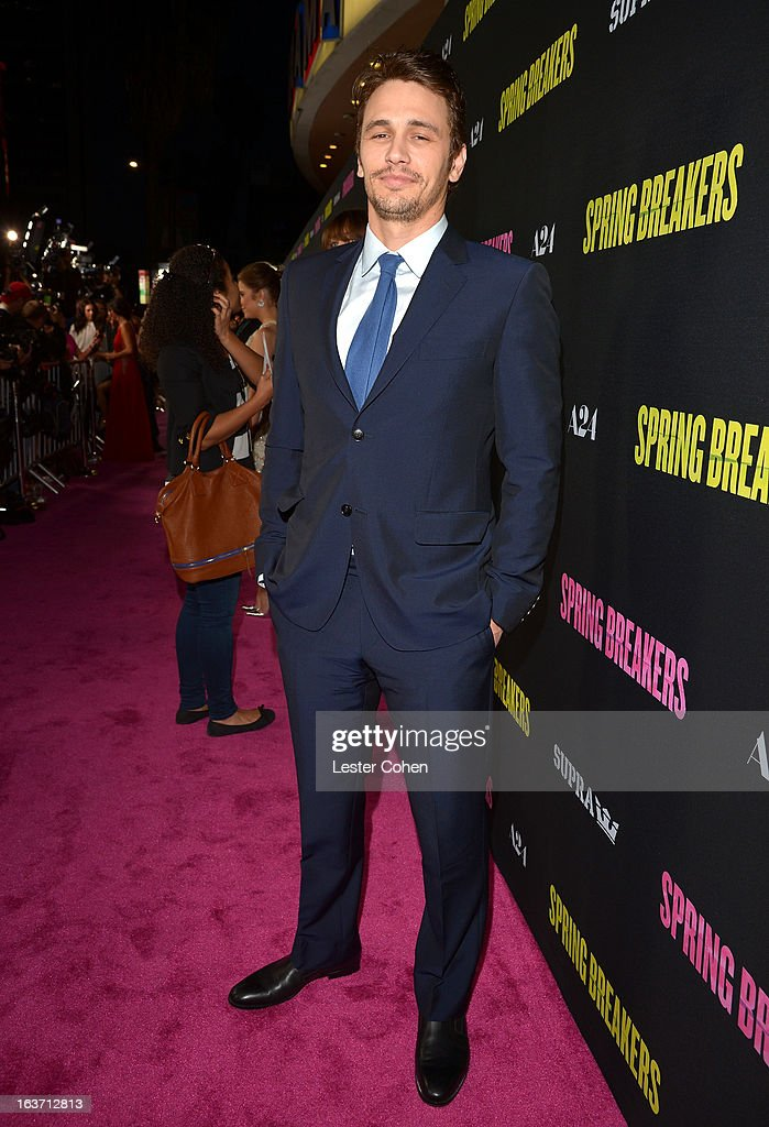 Actor James Franco attends the 'Spring Breakers' Los Angeles Premiere at ArcLight Hollywood on March 14, 2013 in Hollywood, California.