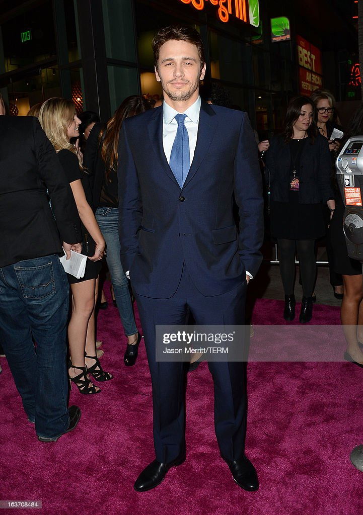 Actor <a gi-track='captionPersonalityLinkClicked' href=/galleries/search?phrase=James+Franco&family=editorial&specificpeople=577480 ng-click='$event.stopPropagation()'>James Franco</a> attends the 'Spring Breakers' premiere at ArcLight Cinemas on March 14, 2013 in Hollywood, California.