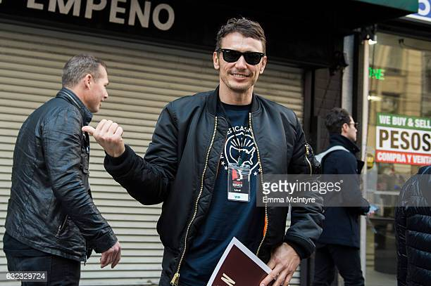 Actor James Franco attends the women's march in Los Angeles on January 21 2017 in Los Angeles California