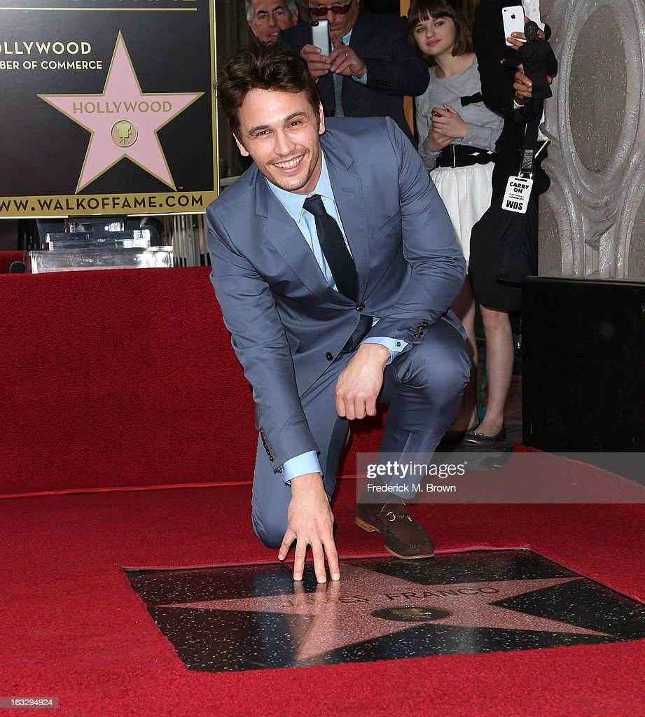 Actor <a gi-track='captionPersonalityLinkClicked' href=/galleries/search?phrase=James+Franco&family=editorial&specificpeople=577480 ng-click='$event.stopPropagation()'>James Franco</a> is honored on The Hollywood Walk Of Fame during the installation ceremony on March 7, 2013 in Hollywood, California.