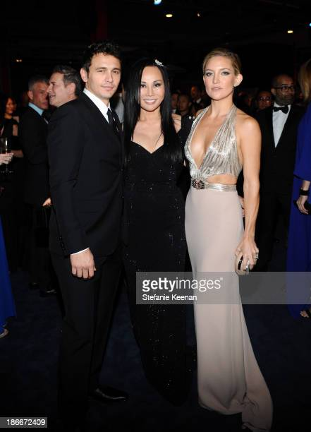 Actor James Franco LACMA trustee and cochair Eva Chow and actress Kate Hudson all in Gucci attend the LACMA 2013 Art Film Gala honoring Martin...