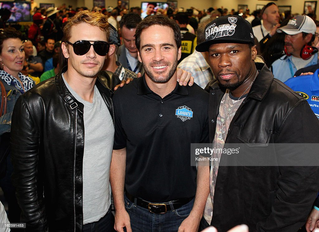 Actor <a gi-track='captionPersonalityLinkClicked' href=/galleries/search?phrase=James+Franco&family=editorial&specificpeople=577480 ng-click='$event.stopPropagation()'>James Franco</a>, NASCAR Sprint Cup driver Jimmy Johnson and Rapper <a gi-track='captionPersonalityLinkClicked' href=/galleries/search?phrase=50+Cent+-+Rapper&family=editorial&specificpeople=215363 ng-click='$event.stopPropagation()'>50 Cent</a> prior to the Daytona 500 at Daytona International Speedway on February 24, 2013 in Daytona Beach, Florida.