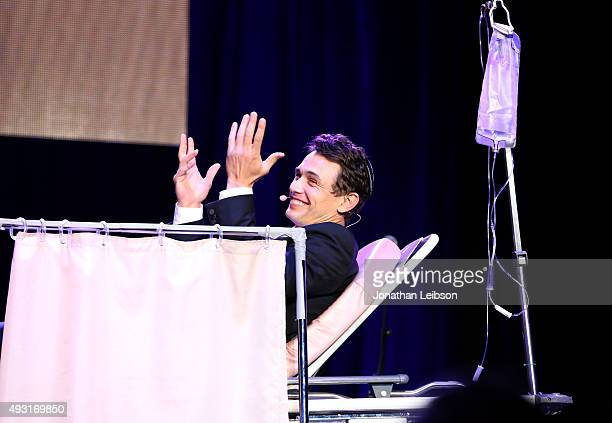 Actor James Franco performs onstage during Hilarity for Charity's annual variety show James Franco's Bar Mitzvah benefiting the Alzheimer's...