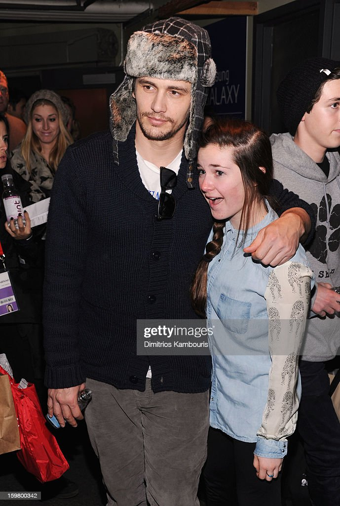 Actor <a gi-track='captionPersonalityLinkClicked' href=/galleries/search?phrase=James+Franco&family=editorial&specificpeople=577480 ng-click='$event.stopPropagation()'>James Franco</a> poses with a fan during Day 3 of Village At The Lift 2013 on January 20, 2013 in Park City, Utah.