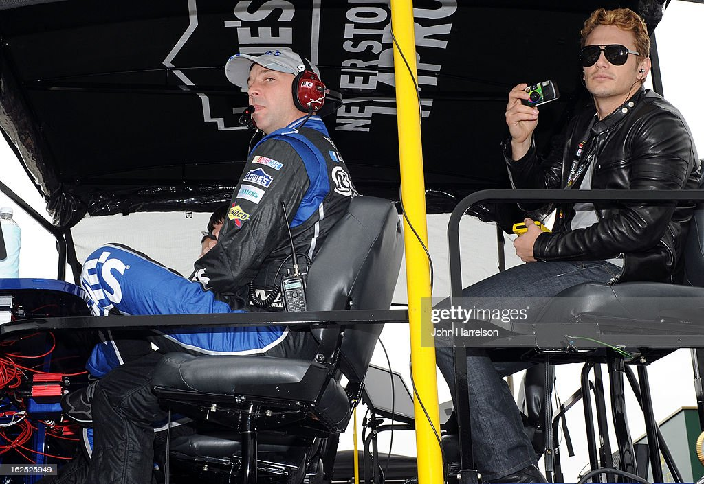 Actor James Franco sits in the pit box of Jimmie Johnson, driver of the #48 Lowe's Chevrolet, during the NASCAR Sprint Cup Series Daytona 500 at Daytona International Speedway on February 24, 2013 in Daytona Beach, Florida.