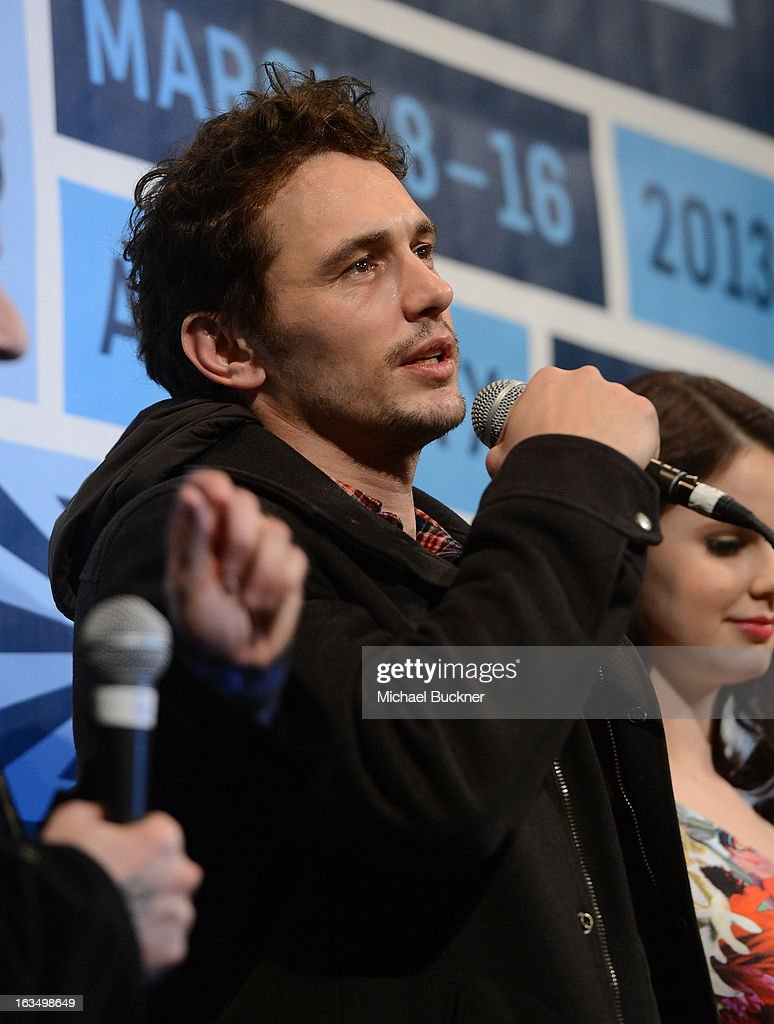 Actor <a gi-track='captionPersonalityLinkClicked' href=/galleries/search?phrase=James+Franco&family=editorial&specificpeople=577480 ng-click='$event.stopPropagation()'>James Franco</a> speaks at the Q & A for 'Spring Breakers' during the 2013 SXSW Music, Film + Interactive at the Paramount Theatre on March 10, 2013 in Austin, Texas.