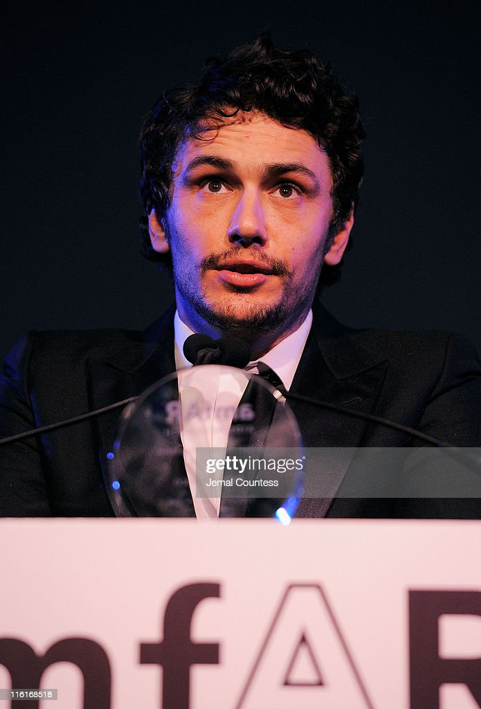 Actor <a gi-track='captionPersonalityLinkClicked' href=/galleries/search?phrase=James+Franco&family=editorial&specificpeople=577480 ng-click='$event.stopPropagation()'>James Franco</a> speaks on stage during the 2nd Annual amfAR Inspiration Gala at The Museum of Modern Art on June 14, 2011 in New York City.