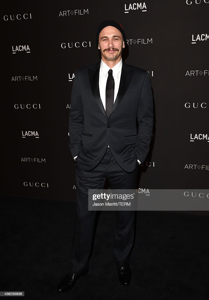 Actor James Franco wearing Gucci attends the 2014 LACMA Art Film Gala honoring Barbara Kruger and Quentin Tarantino presented by Gucci at LACMA on...