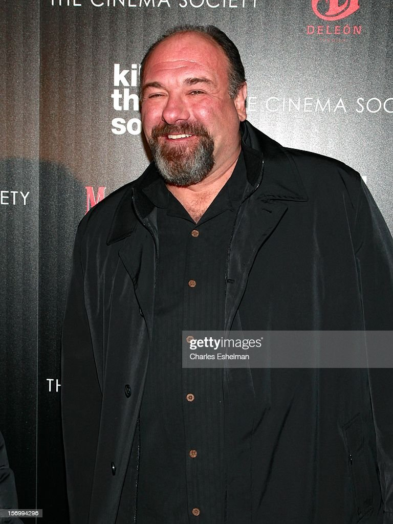 Actor <a gi-track='captionPersonalityLinkClicked' href=/galleries/search?phrase=James+Gandolfini&family=editorial&specificpeople=171463 ng-click='$event.stopPropagation()'>James Gandolfini</a> attends a screening of The Weinstein Company's 'Killing Them Softly' hosted by The Cinema Society with Men's Health and DeLeon Tequila at SVA Theatre on November 26, 2012 in New York City.