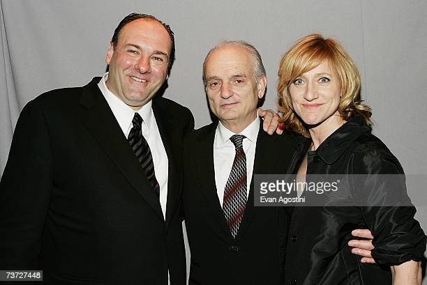 Actor James Gandolfini creator and executive producer David Chase and actress Edie Falco attend the HBO premiere after party for 'The Sopranos' at...