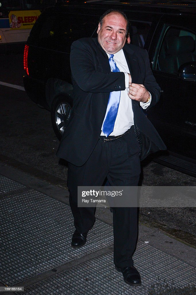 Actor James Gandolfini enters Cipriani 42nd Street on January 8, 2013 in New York City.