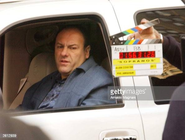 Actor James Gandolfini is shown on the set of 'The Sopranos' filming by the Plaza Hotel October 15 2003 in New York