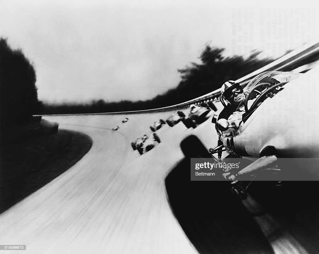 Actor James Garner leads the pack of Formula Ones in the 1966 film Grand Prix the first film to capture the thrill of the track by mounting a camera...