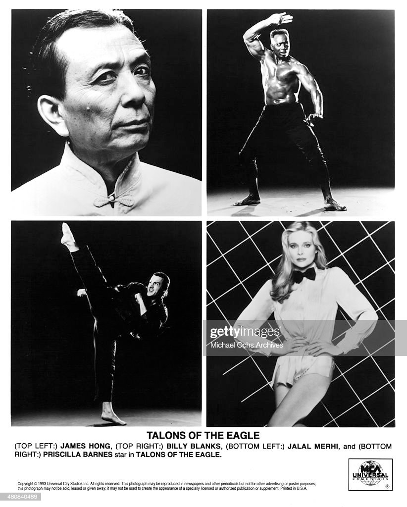 Actor James Hong and Billy Blanks pose Actor Jalal Merhi and actress Priscilla Barnes pose for the movie 'Talons of the Eagle' circa 1992
