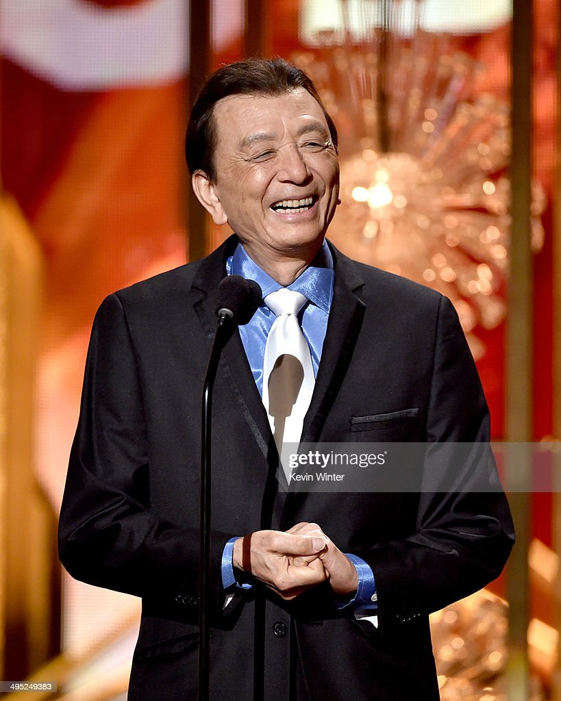 Actor <a gi-track='captionPersonalityLinkClicked' href=/galleries/search?phrase=James+Hong&family=editorial&specificpeople=2131387 ng-click='$event.stopPropagation()'>James Hong</a> appears onstage at the 2014 Huading Film Awards at The Montalban Theatre on June 1, 2014 in Los Angeles, California.