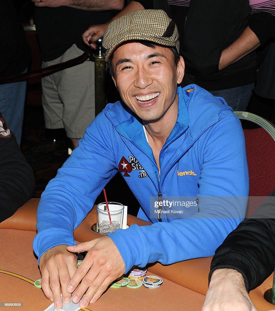 Actor James Kyson Lee celebrates a winning poker hand during Pokerstarsnet's Celebrity Charity Poker Tournament at Venetian Hotel and Casino Resort...