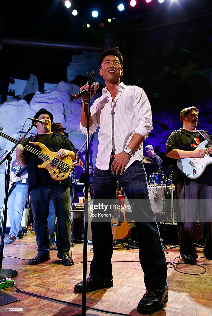 Actor James Kyson Lee of Band From TV performs live at the Mohegan Sun Celebration of the Grand Opening of Casino of the Wind at Mohegan Sun's Casino...