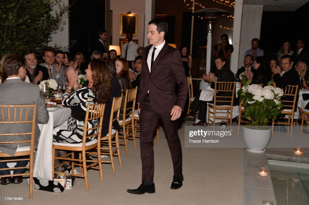 Actor James Mackay walks to the podium to address the audience at the Australians In Film and Heath Ledger Scholarship Host 5th Anniversary Benefit Dinner on June 12, 2013 in Los Angeles, California.