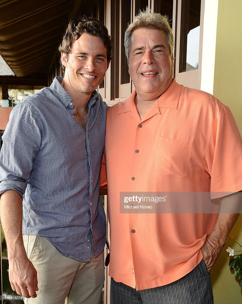 Actor <a gi-track='captionPersonalityLinkClicked' href=/galleries/search?phrase=James+Marsden&family=editorial&specificpeople=206902 ng-click='$event.stopPropagation()'>James Marsden</a> (L) and Film Festival Director Barry Rivers attend the Opening Night Reception for the 2012 Maui Film Festival at Capische on June 13, 2012 in Wailea, Hawaii.