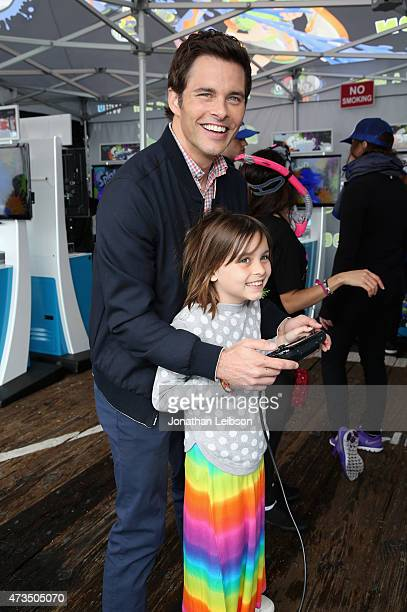 Actor James Marsden and his daughter Mary attend Celebrity Nintendo Splatoon Mess Fest on May 15 2015 in Santa Monica California