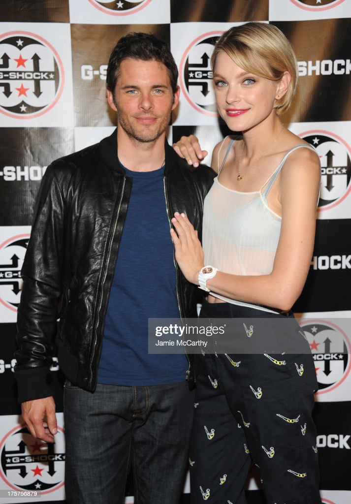 Actor James Marsden (L) and model Jessica Stam attend G-Shock Shock The World 2013 at Basketball City on August 7, 2013 in New York City.